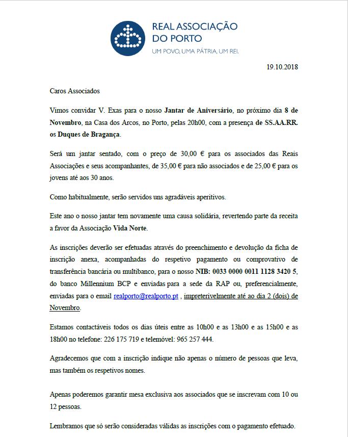 Convite Jantar-Aniversário Real Associação do Porto